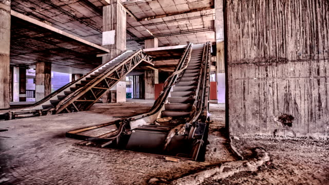 Damaged escalator inside abandoned building video