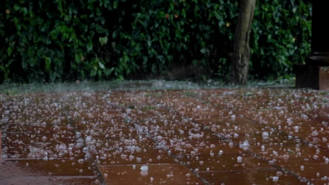 damaging large hail stones falling on tile during a storm - grandine video stock e b–roll
