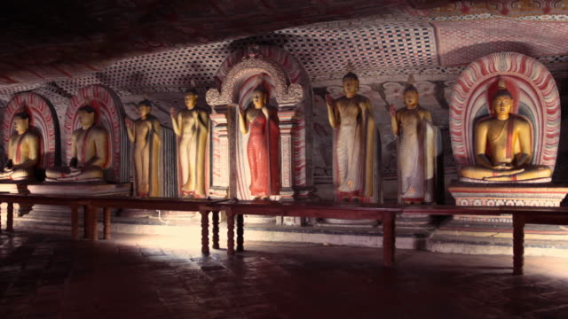 Dambulla cave in Sri Lanka Inside of Dambulla cave in Sri Lanka sri lanka stock videos & royalty-free footage