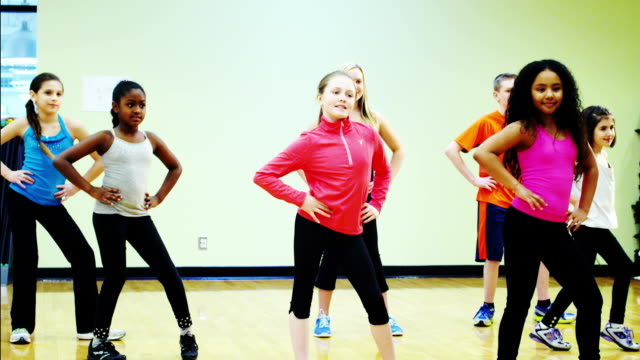 Dance Class Kids learning how to dance.  dance studio stock videos & royalty-free footage
