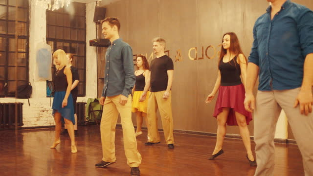 Dance classes. Dance students doing exercises video