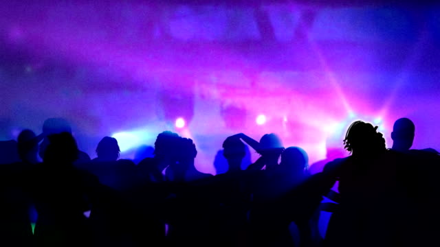 Dancers at Club v.2 - 3D animation sillhouette of men and women dancing at club with lights in background.  party social event stock videos & royalty-free footage