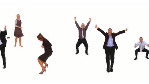hd loop montage: dancing business people - kutlama stok videoları ve detay görüntü çekimi