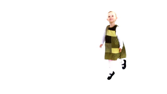 Dancing child waiting for applause. Happy little girl. video