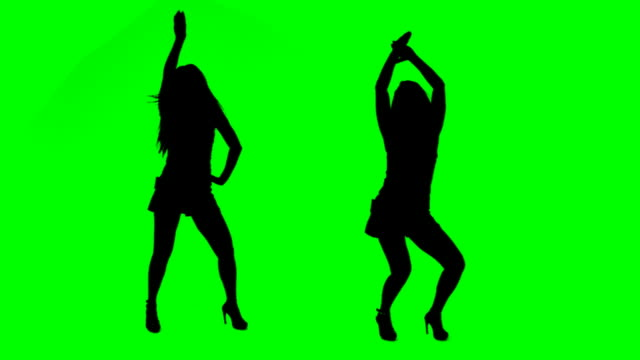 Dancing girls Girls dancing over green background easy to key. silhouette stock videos & royalty-free footage