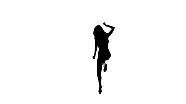 tanz gogo mädchen silhouette auf weißem hintergrund. zeitlupe. - lateinische schrift stock-videos und b-roll-filmmaterial