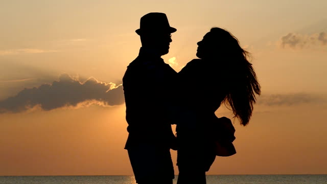 dancing on the sunset slowmotion - valentines day stock videos and b-roll footage