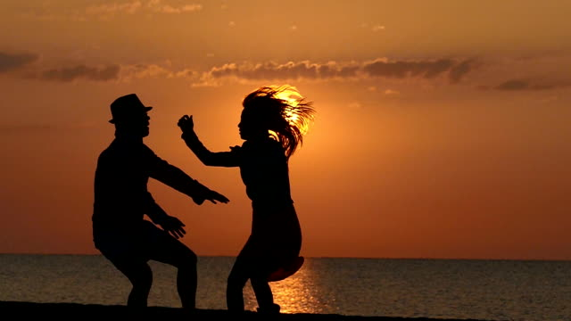 Dancing on the sunset slowmotion video