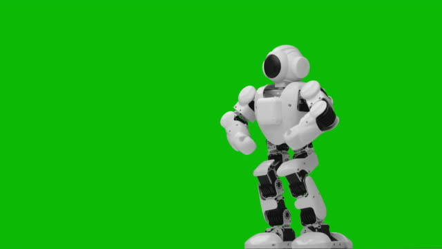 Dancing robot. Green screen.