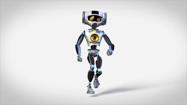 robot Dancing sobre fondo gris - vídeo