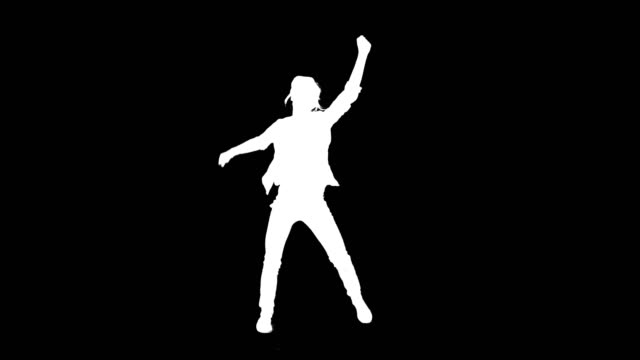 Video Dancing silhouette. Woman on black background. Alpha