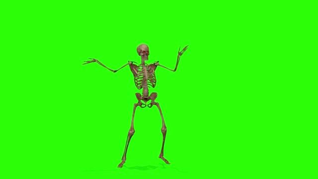 yeşil ekran arka planda dans iskeletleri. cadılar bayramı konsepti. - i̇nsan i̇skeleti stok videoları ve detay görüntü çekimi