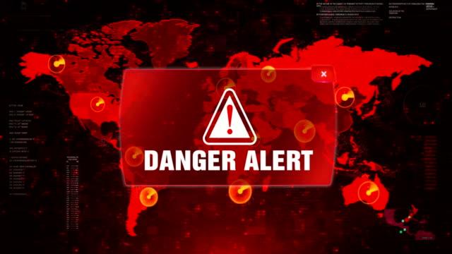 gefahr alert 2 alarm warnangriff auf bildschirm world map loop motion. - bedrohte tierart stock-videos und b-roll-filmmaterial