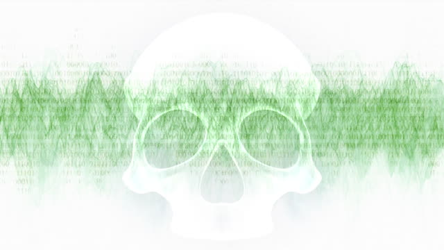 Danger lurking on the Internet - a light theme. Loop ready animation of passing binary code on waveform with white skull in front of it.