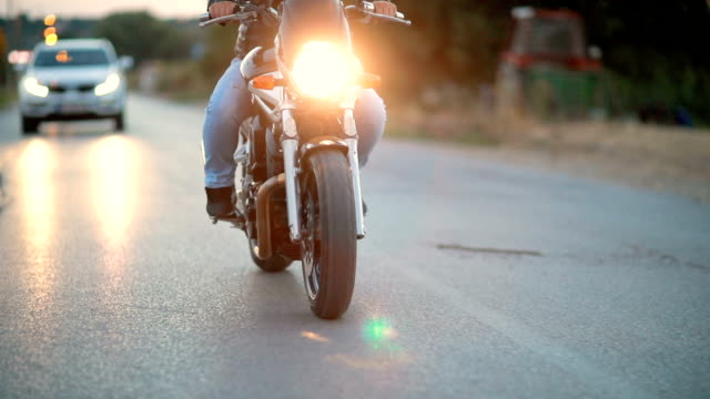 Dangerous man on motorcycle