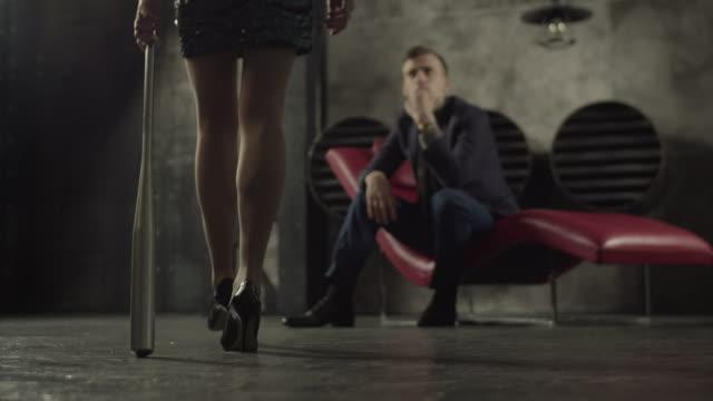 Dangerous vamp woman alluring handsome man