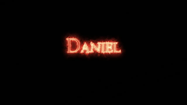 daniel written with fire. loop - ветхий завет стоковые видео и кадры b-roll