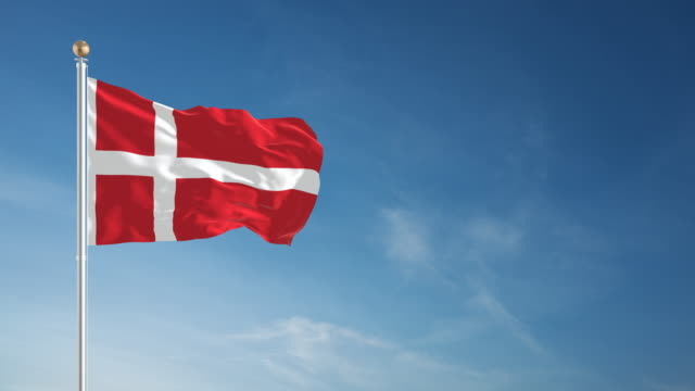 4K Danish Flag - Loopable video