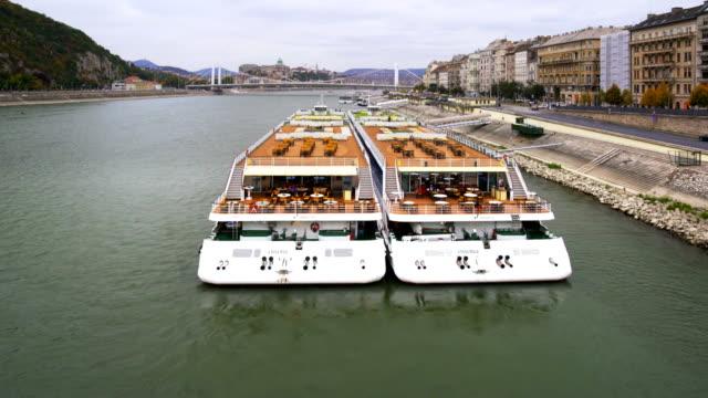 Danube River Cruiser Moored On Pest Embankment video