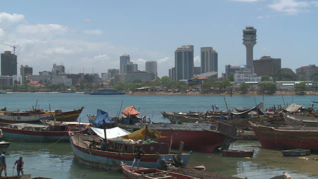 dar es salaam, tanzania view over the harbour to city of dar es salaam, tanzania tanzania stock videos & royalty-free footage