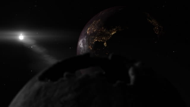 Dark 3D background with a sad empty earth and the moon in a black sky. Apocalypse concept
