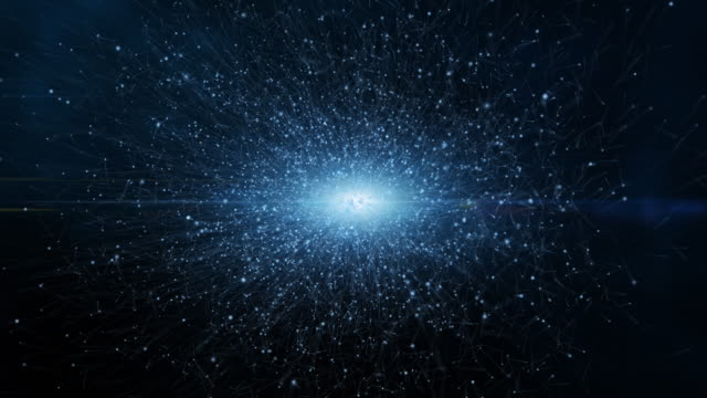 Dark blue and glow dust particle abstract background, Light ray shine beam effect. - vídeo