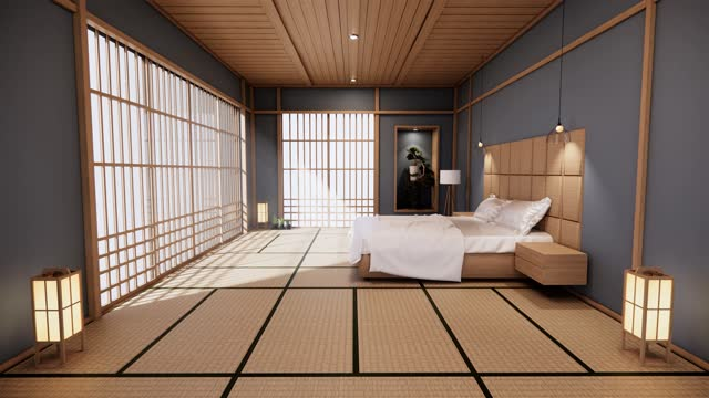 Dark blue bedroom japanese design on tropical room interior and tatami mat floor. 3D rendering