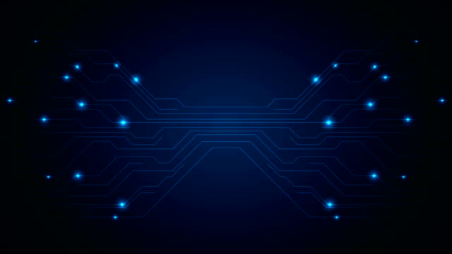 Dark blue circuit board technology video animation