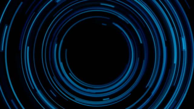 vidéos et rushes de lignes circulaires bleues foncées abstraite de mouvement futuriste de technologie de fond - rouage