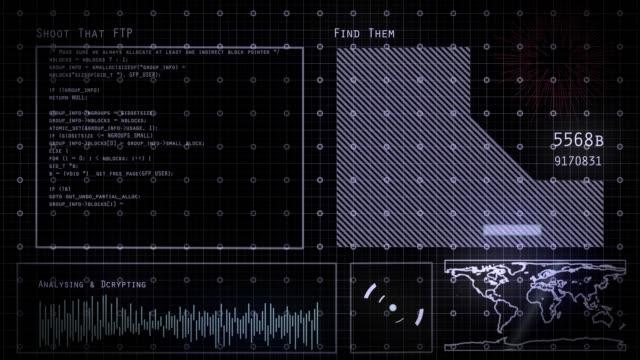Dark Blue Futuristic HUD , Computer Data Screen like hunting or hacking something. video