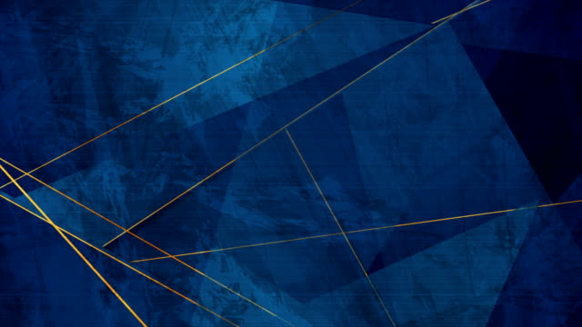 Dark blue grunge corporate abstract motion background with golden lines