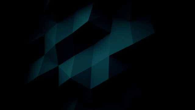 Dark blue low poly geometric surface loopable 3D animation video