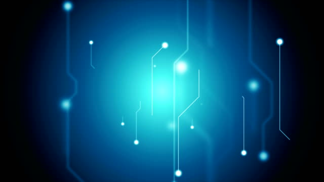 dark blue tech circuit board technology video animation - scheda a circuito video stock e b–roll