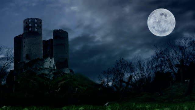 Dark castle on hill during the storm. video