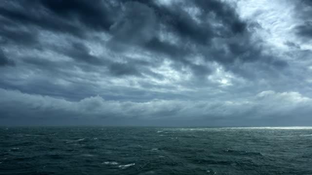 Dark clouds cover the sea