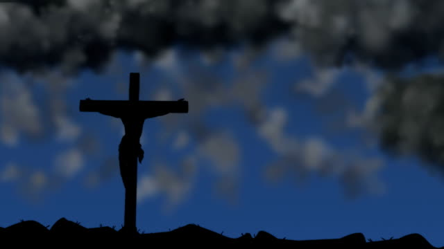 Dark clouds gather above Jesus on a cross video