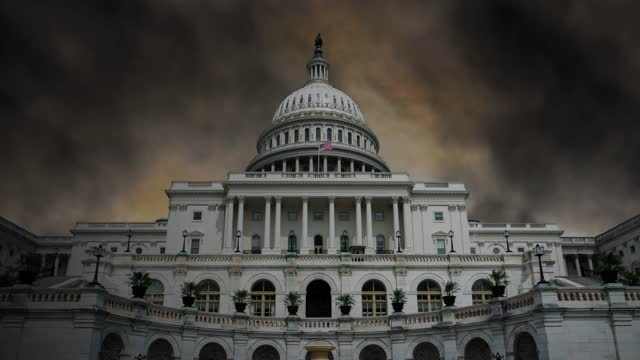 Dark clouds timelapse above U.S. Capitol Building House refers to Protesters Storm,  in Washington, DC stock video