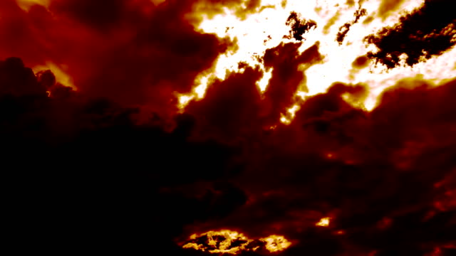 dark fire burning clouds like devil hell - inferno video stock e b–roll