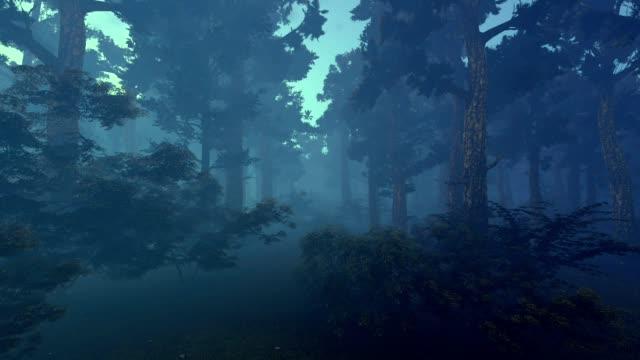 dark forest. 3d animation