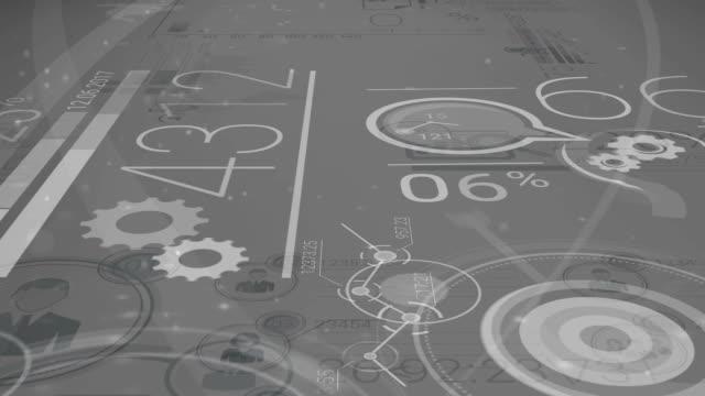 stockvideo's en b-roll-footage met donker grijze corporate achtergrond met abstracte elementen van infographics - bedrijfsstrategie