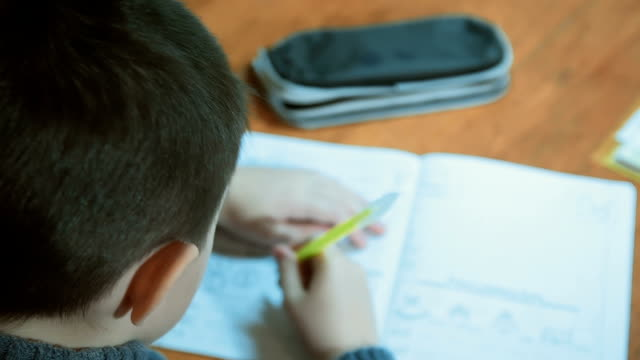 Dark haired boy in his home environment writes in notebook with pen and then takes out pencil from case video