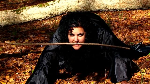 ダークブラックのヘア女性をとるにある秋の森 - こっそり点の映像素材/bロール