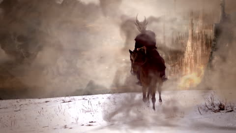 dark horseman HD slowmotion slowmotion shot of fantasy horseman riding from burned city fantasy stock videos & royalty-free footage