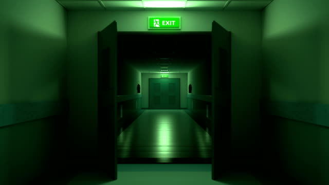 Dark hospital corridor, opening doors, looping animation Dark hospital corridor, opening doors, looping animation eternity stock videos & royalty-free footage
