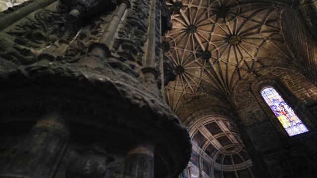 Dark interior Portugal cathedral