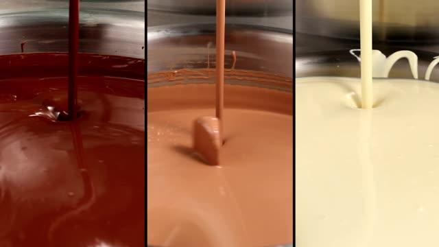 Dark, milk and white chocolate swirling video