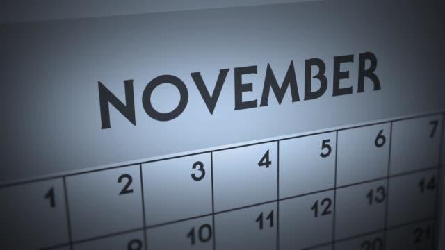 어두운 불길 한 달력 페이지 애니메이션-11 월 - 낮 스톡 비디오 및 b-롤 화면