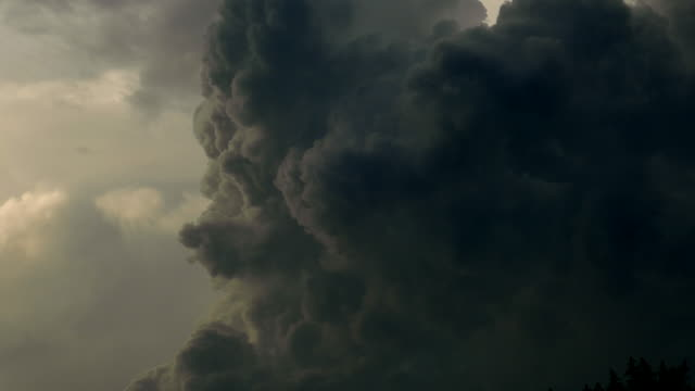 Dark Ominous Storm Cloud Broils Violently, Time Lapse