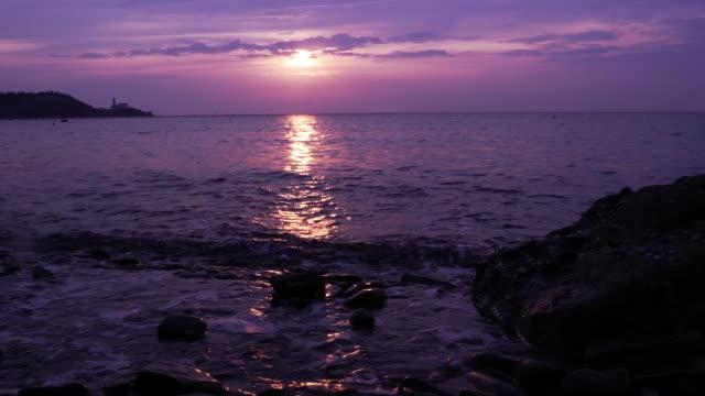 Dark Purple Sunset Over The Sea video