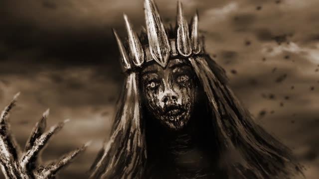 Dark queen pulls bony hand. Dark queen with crown pulls bony hand. Fantasy animation. Monochrome background donna stock videos & royalty-free footage